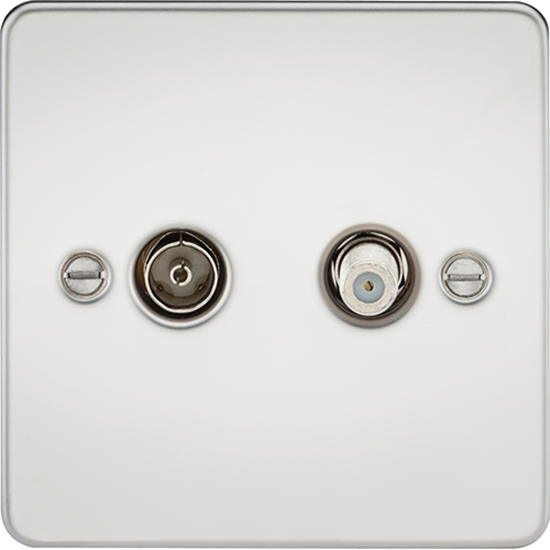 Picture of TV and SAT TV Outlet (Isolated) - Polished Chrome