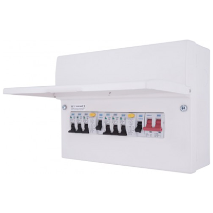 Picture of 6 Way with 100A Switch, 2 x 63A 30mA RCD, 6 x MCB's Metal Populated Dual RCD Consumer Unit