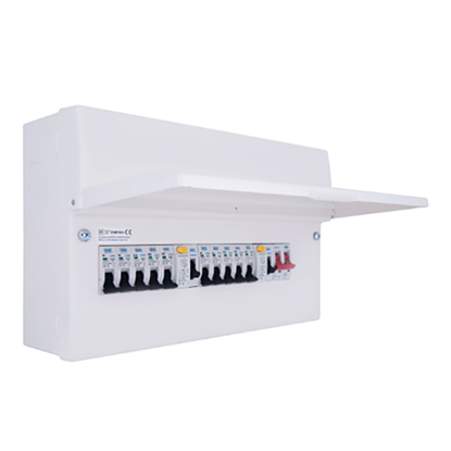 Picture of 10 Way with 100A Switch, 2 x 63A 30mA RCD, 10 x MCB's Metal Populated Dual RCD Consumer Unit