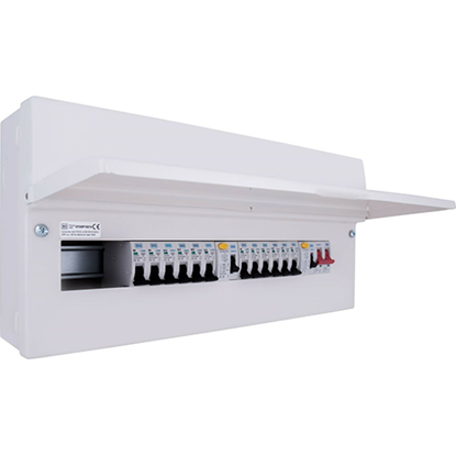 Picture of 16 Way with 100A Switch, 2 x 63A 30mA RCD, 12 x MCB's Metal Populated Dual RCD Consumer Unit