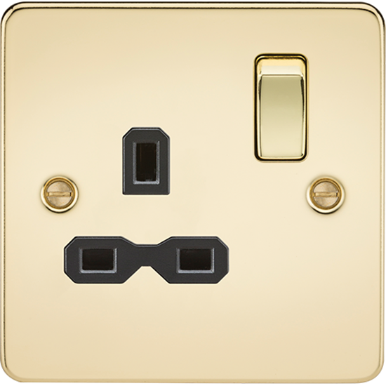 Picture of 13A 1 Gang Double Pole Switched Socket - Polished Brass with Black Insert