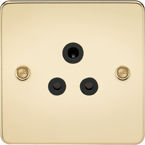 Picture of 5A Unswitched Socket - Polished Brass with Black Insert