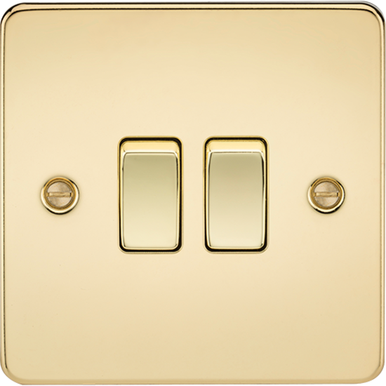 Picture of 10AX 2 Gang 2 Way Switch - Polished Brass