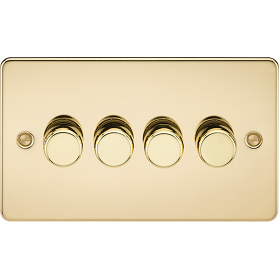 Picture of 4 Gang 2 Way 10-200W (5-150W LED) Trailing Edge Dimmer - Polished Brass