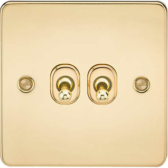 Picture of 10AX 2 Gang 2 Way Toggle Switch - Polished Brass