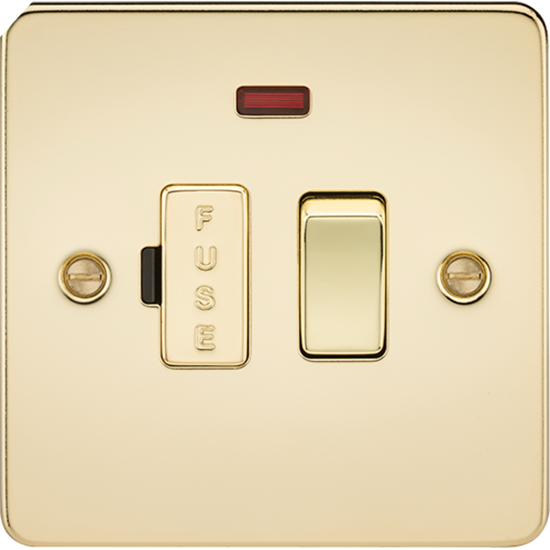 Picture of 13A Switched Fused Spur Unit with Neon - Polished Brass