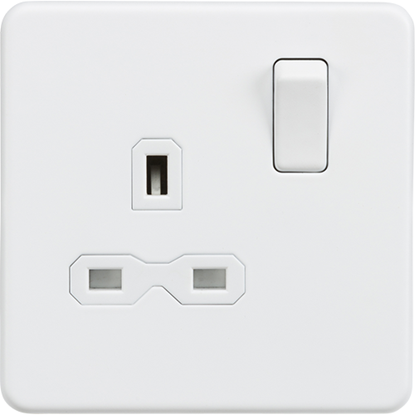 Picture of 13A 1 Gang Double Pole Switched Socket - Matt White with White Insert