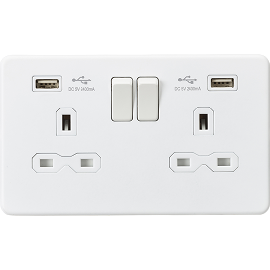 Picture of 13A 2 Gang Switched Socket with Dual USB Charger (2.4A) - Matt White
