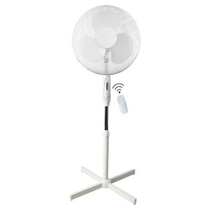 "Picture of Airmaster 16"" 45W 3 Speed Pedestal White Fan Remote Control"