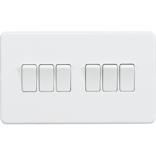 Picture of 10AX 6 Gang 2 Way Switch - Matt White