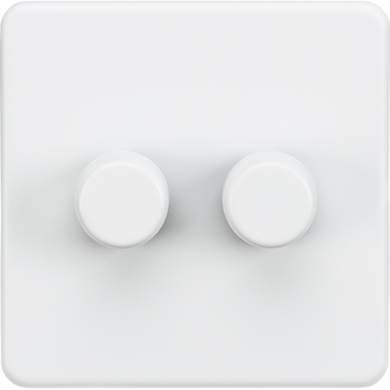 Picture of 2 Gang 2 Way 10-200W (5-150W LED) Trailing Edge Dimmer - Matt White