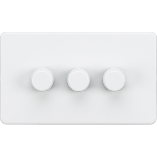 Picture of 3 Gang 2 Way 10-200W (5-150W LED) Trailing Edge Dimmer - Matt White