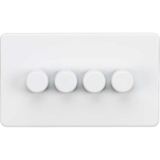 Picture of 4 Gang 2 Way 10-200W (5-150W LED) Trailing Edge Dimmer - Matt White