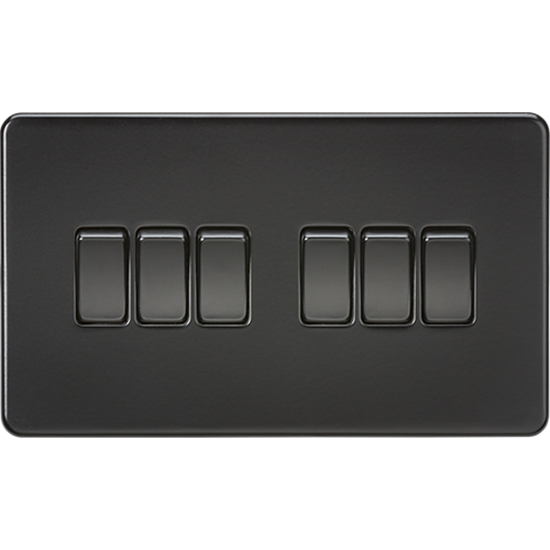 Picture of 10AX 6 Gang 2 Way Switch - Matt Black