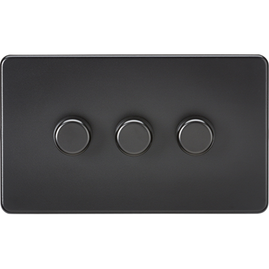 Picture of 3 Gang 2 Way 10-200W (5-150W LED) Trailing Edge Dimmer - Matt Black