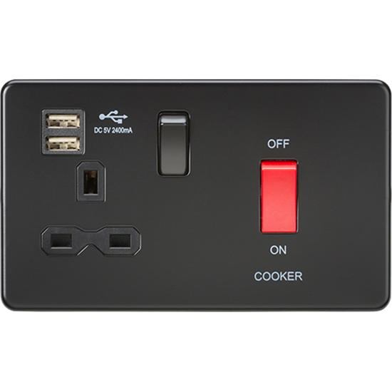 Picture of 45A Double Pole Switch and 13A Switched Socket with Dual USB Charger 2.4A - Matt Black