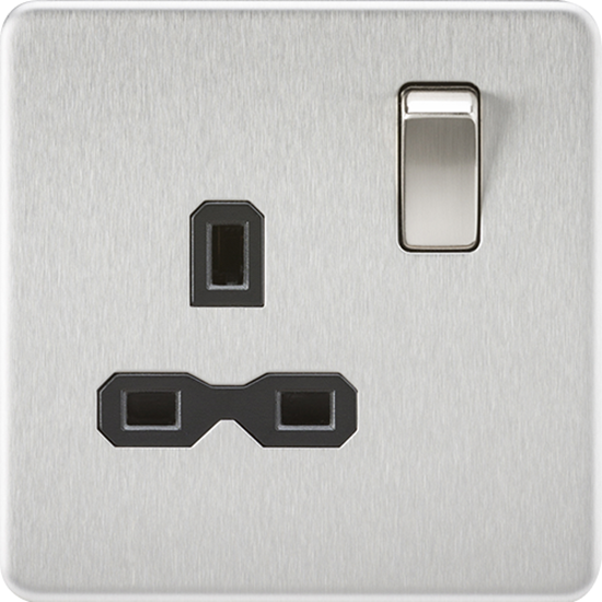 Picture of 13A 1 Gang Double Pole Switched Socket - Brushed Chrome with Black Insert