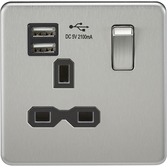 Picture of 13A 1 Gang Switched Socket with Dual USB Charger (2.1A) - Brushed Chrome with Black Insert