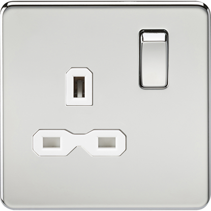 Picture of 13A 1 Gang Double Pole Switched Socket - Polished Chrome with White Insert
