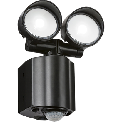 Picture of IP44 2x8W LED Twin Spot Black Security Light with PIR