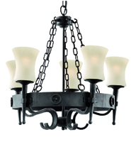 Picture of 5 Light Wrought Iron Cartwheel Fitting Complete with Glass