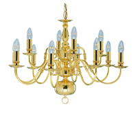 Picture of 12 Light Polished Brass Flemish Fitting