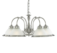 Picture of 5 Light Fitting Satin Silver Diner Opaque Glass