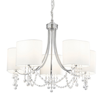 Picture of Chrome/ Clear Beads 5 Light Fitting - White Shades