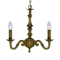 Picture of 3 Light Antique Brass Fitting Assembled Candle No Glass