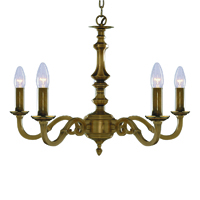 Picture of 5 Light Antique Brass Fitting Assembled Candle No Glass