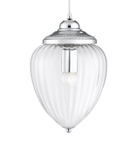 Picture of Chrome 1 Light Clear Ribbed Glass Lantern