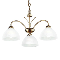 Picture of 3 Light Antique Brass Fitting with Alabaster Glass