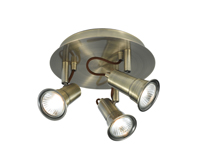 Picture of 3 Light Antique Brass Spotlight