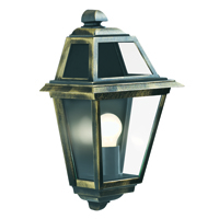 Picture of New Orleans Cast Aluminium Black/Gold Finish Outdoor Wall Light with Clear Glass