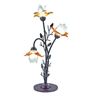 Picture of 3 Light Brown Table Lamp - Amber Flower Glass
