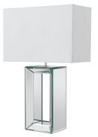 Picture of Mirror Tall Table Lamp-White Faux Silk Shade