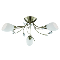 Picture of 3 Light Antique Brass Semi Flush Fitting Crystal Detail White Glass