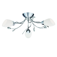 Picture of 3 Light Chrome Semi-Flush Fitting White Glass Crystal Leaf