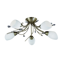 Picture of Gardenia 5 Light Antique Brass Semi Flush Fitting Crystal Leaf White Glass
