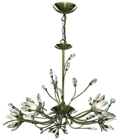 Picture of 5 Light Antique Brass Fitting with Flower Glass