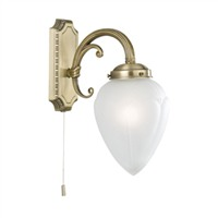 Picture of 1 Light Antique Brass Wall Light - Teardrop Glass