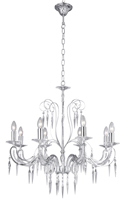 Picture of 8 Light Chrome Beaded Arm Fitting - Glass Drops