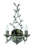 Picture of Marquette 2 Light Antique Brass Wall Bracket with Maple Leaf Crystal