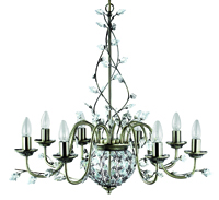 Picture of 8 Light Antique Brass Fitting with Maple Leaf Crystal