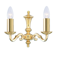 Picture of 2 Light Polished Brass Wall Bracket Candle No Glass