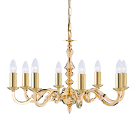 Picture of 8 Light Polished Brass Fitting Assembled Candle No Glass