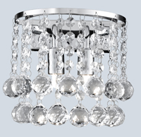Picture of Chrome 2 Light Round Wall Bracket- Clear Crystal Ball
