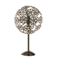 Picture of 6 Light Black Chrome Table Lamp with Beaded Flowers