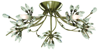 Picture of 5 Light Antique Brass Flush with Flower Glass