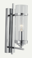 Picture of Chrome 1 Light Wall Bracket  - Clear Glass Cylinder Shade